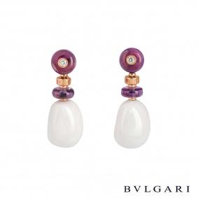 Bvlgari Rose Gold Diamond & Multi-Gem Mediterranean Eden Earrings